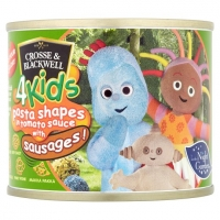 Image of TODAY ONLY Crosse and Blackwell 4Kids Pasta Shapes in Tomato Sauce with Sausages 213g