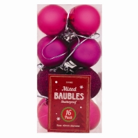 Image of Christmas Baubles 16 pack Pink