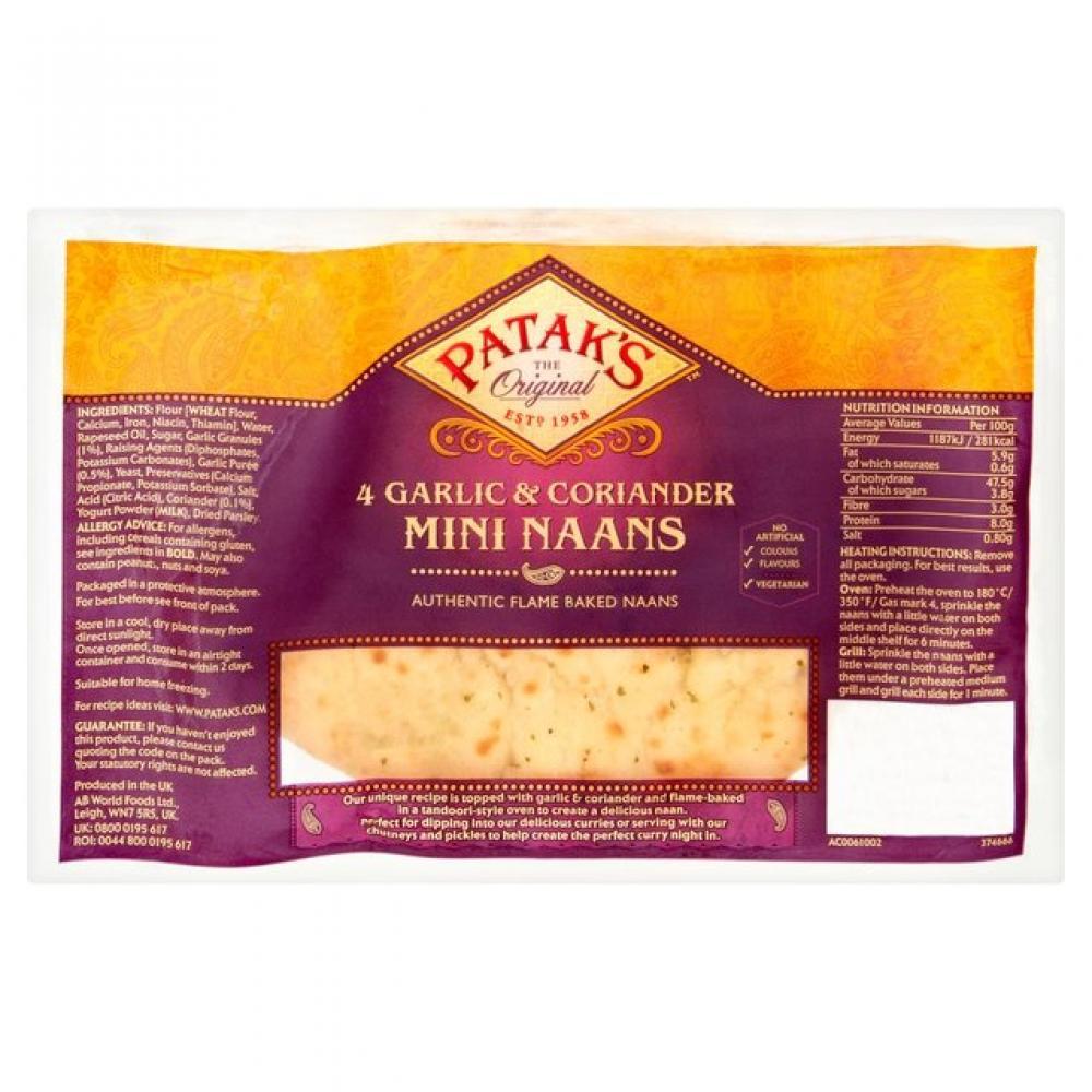 Pataks 4 Garlic and Coriander Mini Naans