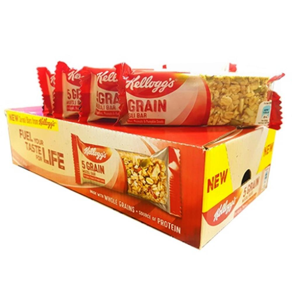 CASE PRICE  Kelloggs 5 Grain Muesli Bar Red Apples Peanuts and Pumpkin Seeds 18 x 30g