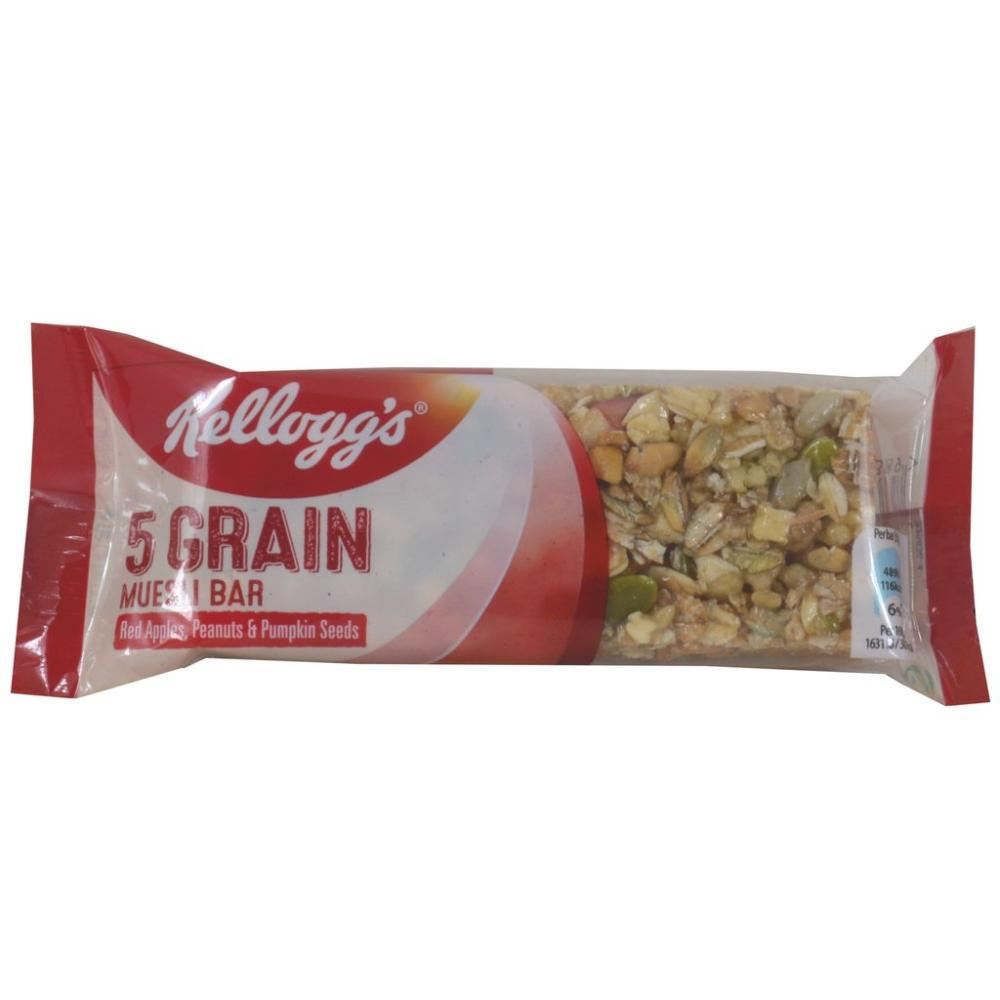 Kelloggs 5 Grain Muesli Bar Red Apples Peanuts And Punkin Seeds 30g