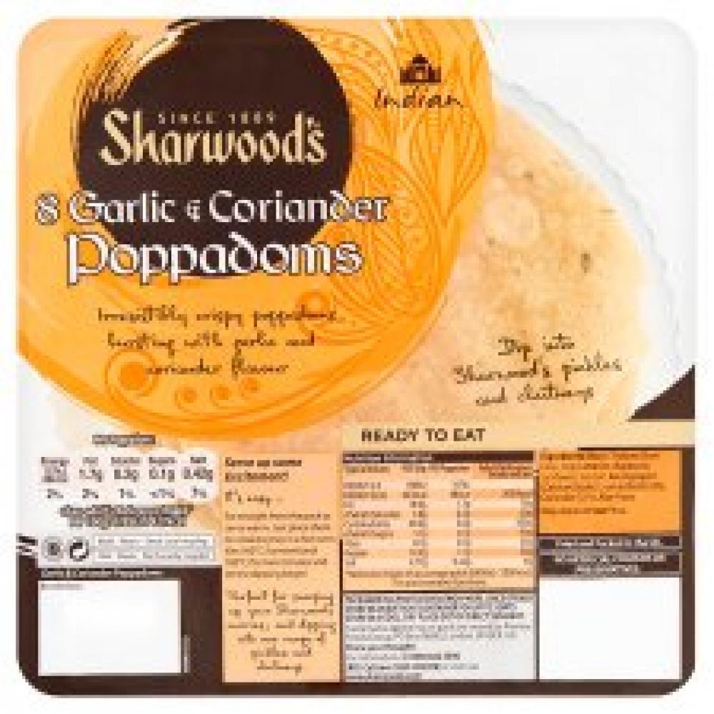 Sharwoods 8 Garlic and Coriander Poppadoms