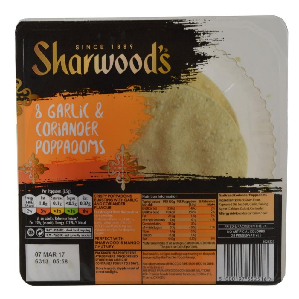 Sharwoods 8 Garlic and Coriander Poppadoms