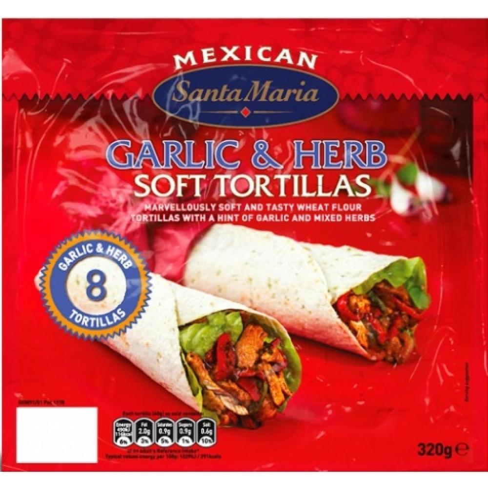 Santa Maria 8 Garlic and Herb Soft Tortillas 320g