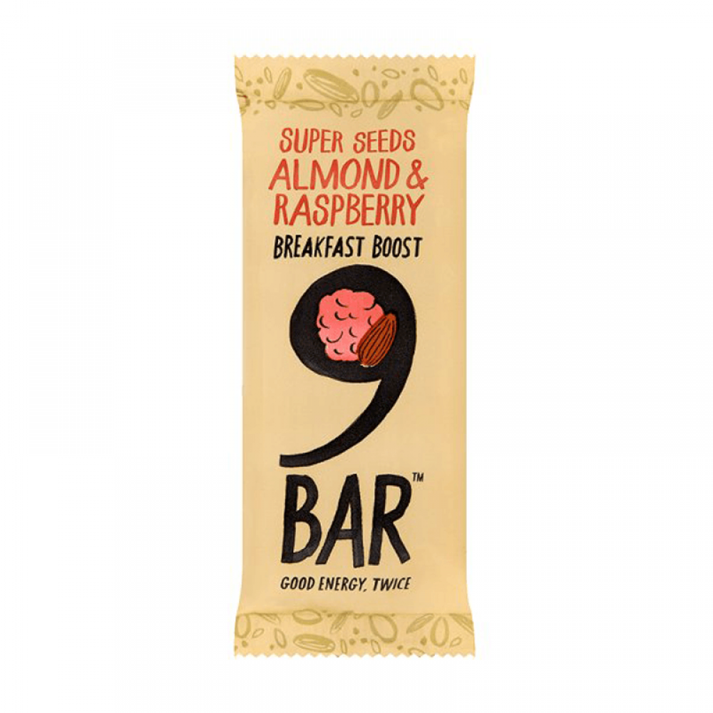 9Bar super Seeds Almond and Raspberry Bar 50g