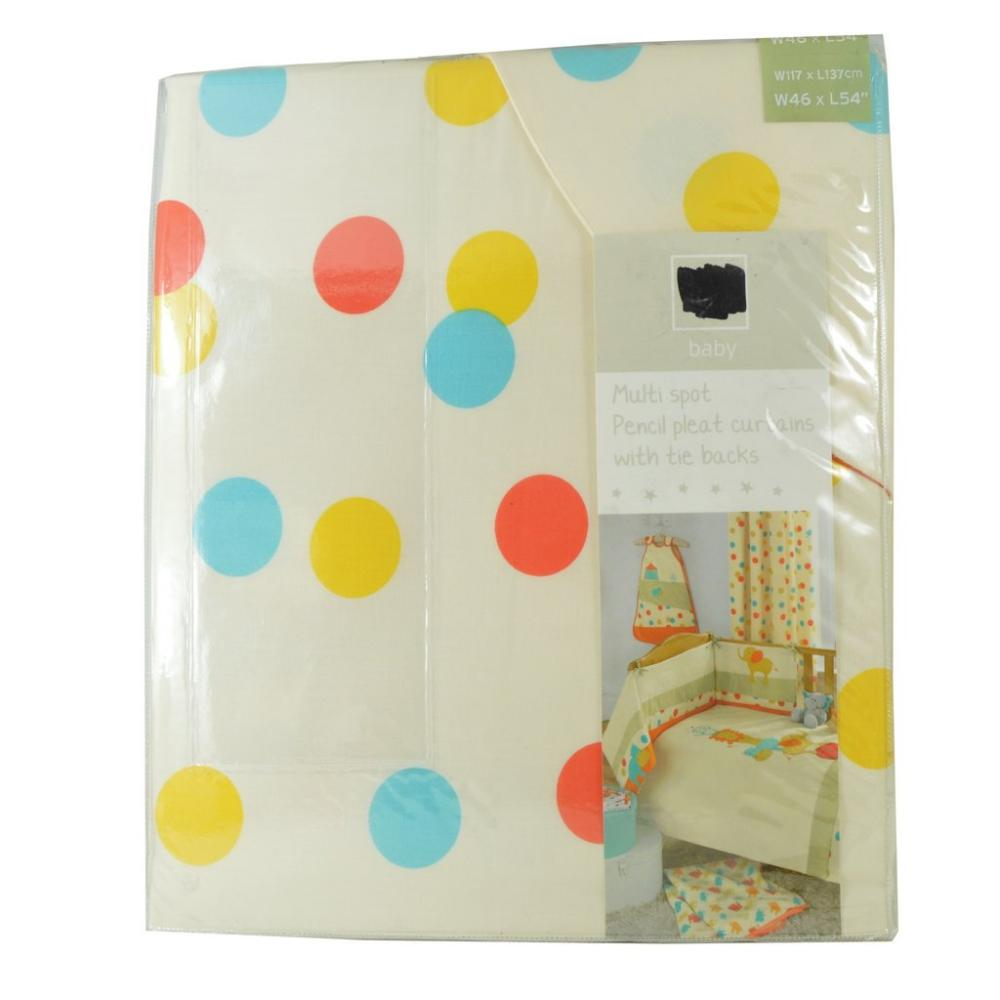 Baby  Multi Spot Pencil Pleat Curtains With Tie Backs