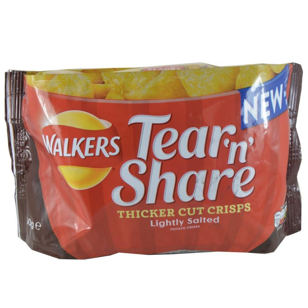 CLEARANCE  Walkers Tear N Share Lightly Salted Crisps 150g