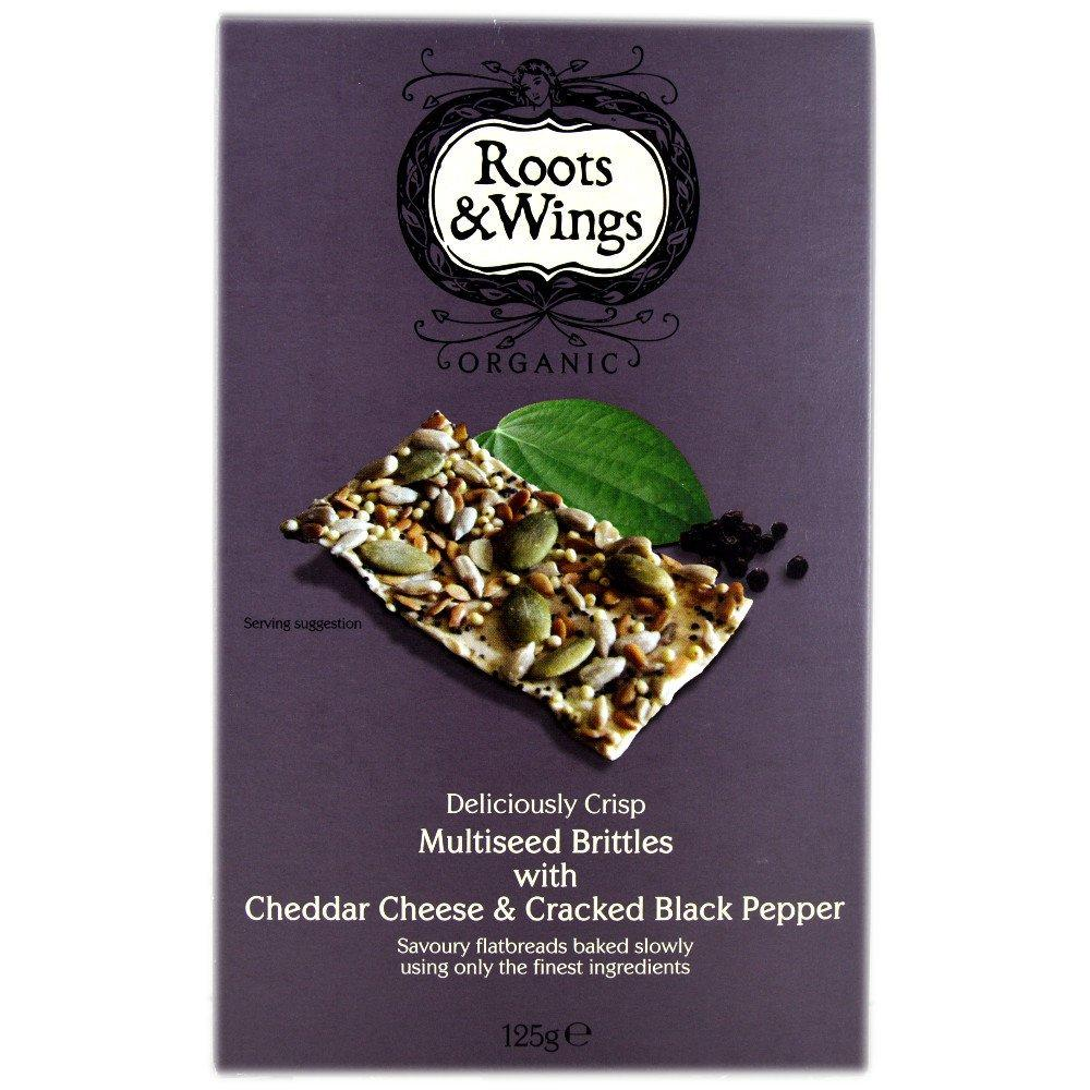 Roots and Wings Multiseed Brittles with Cheddar Cheese and Cracked Black Pepper 125g