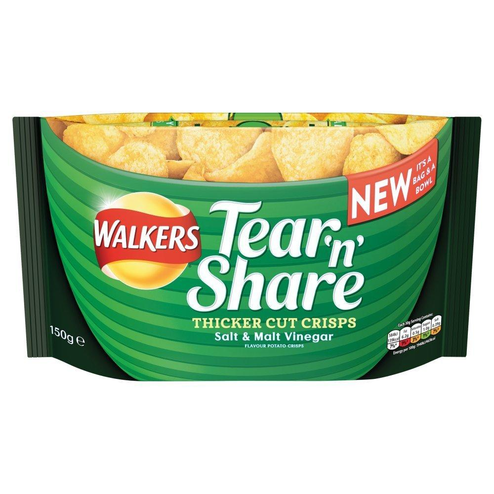 Walkers Tear and Share Salt and Malt Vinegar Thicker Cut Crisps 150 g