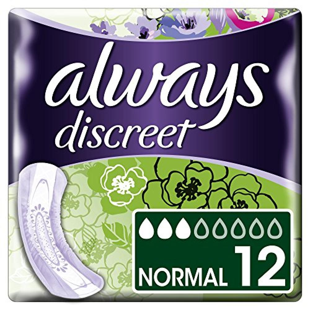 Always Discreet Incontinence Pads Normal for Sensitive Bladder 12 Pads