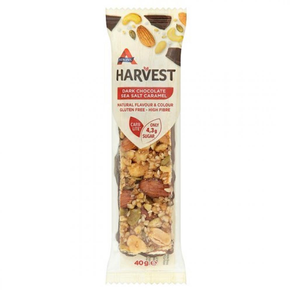 Atkins Harvest Dark Chocolate Sea Salt Caramel Bar 40g