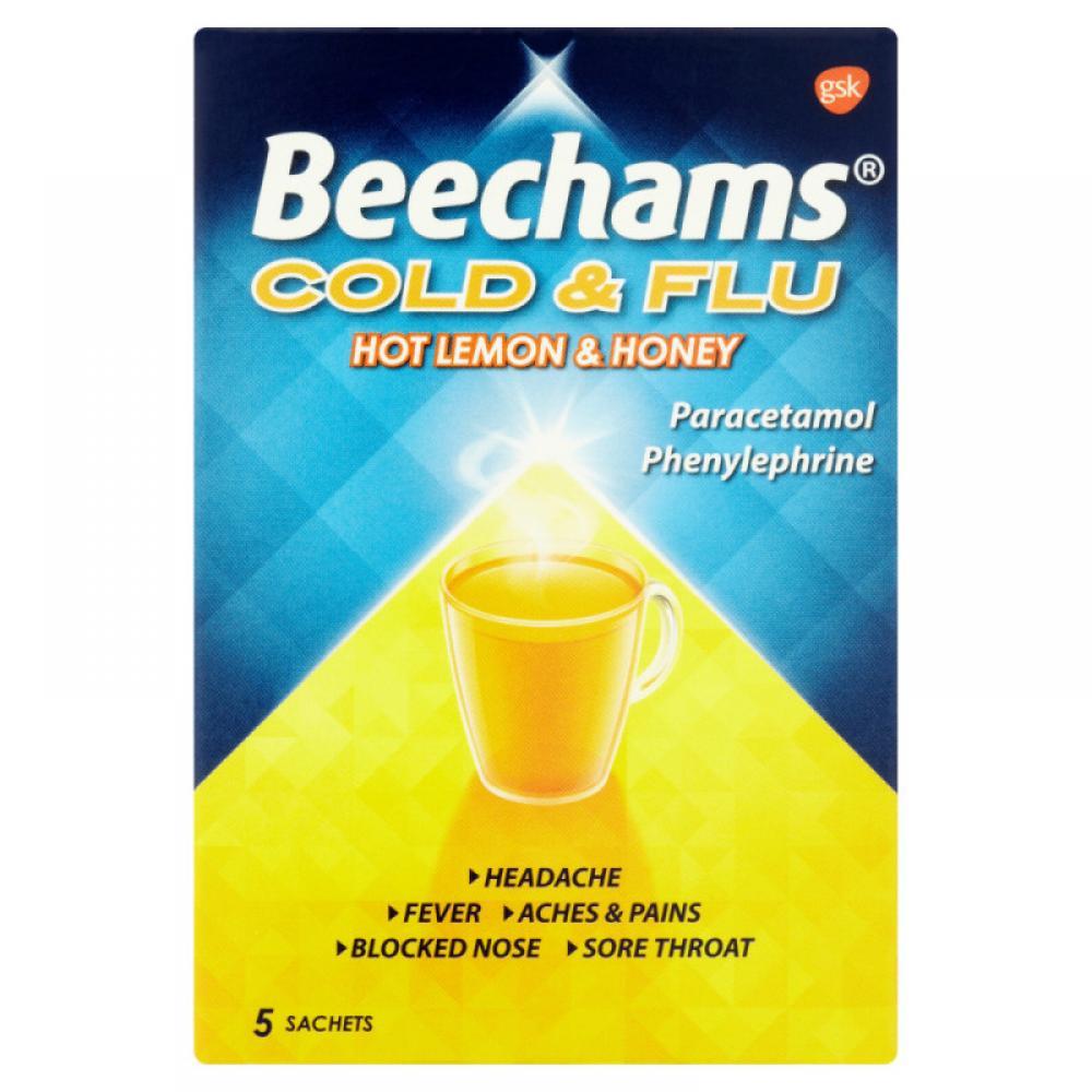 Beechams Cold and Flu Hot Lemon 5 sachets
