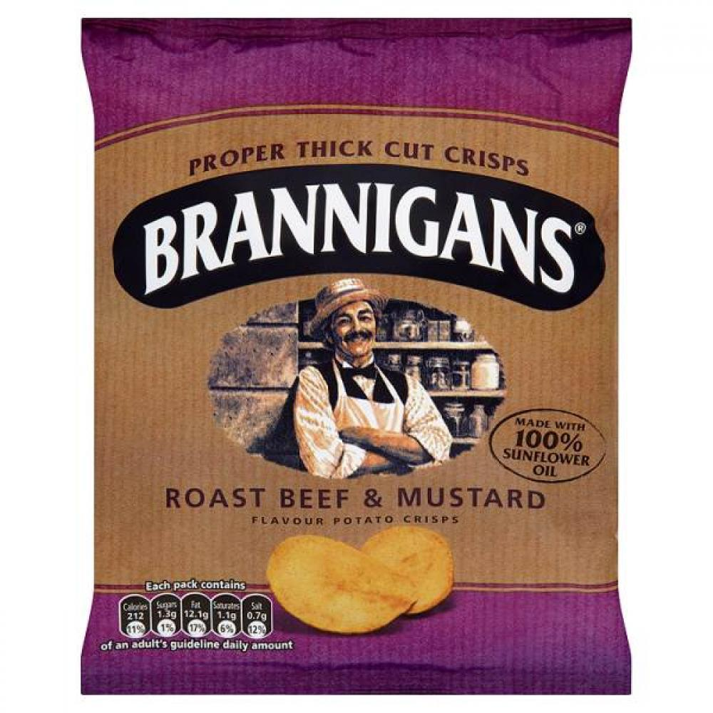 Brannigans Roast Beef and Mustard Flavour Crisps 40g