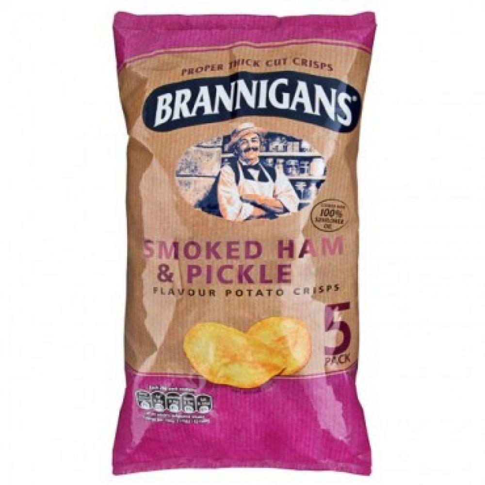 Brannigans Smoked Ham and Pickle Flavour Potato Crisps 25.5g x 5
