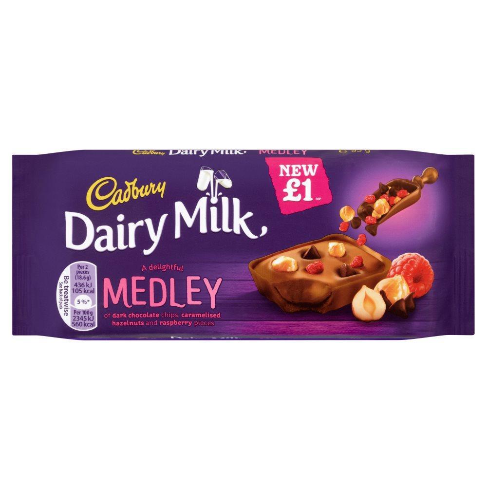 Cadbury Dairy Milk Medley Raspberry Chocolate Bar 93g