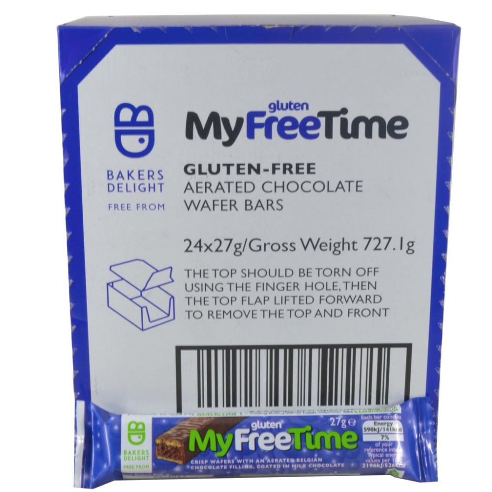 CASE PRICE  Bakers Delight Gluten Free My Free Time Chocolate Wafers 24 x 27g