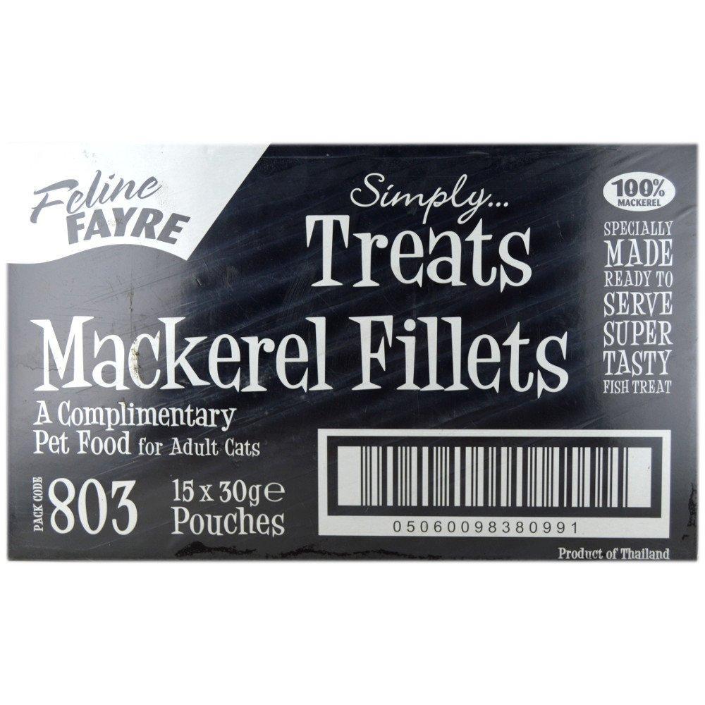 CASE PRICE  Feline Fayre Mackerel Fillet Treats 30g x 15