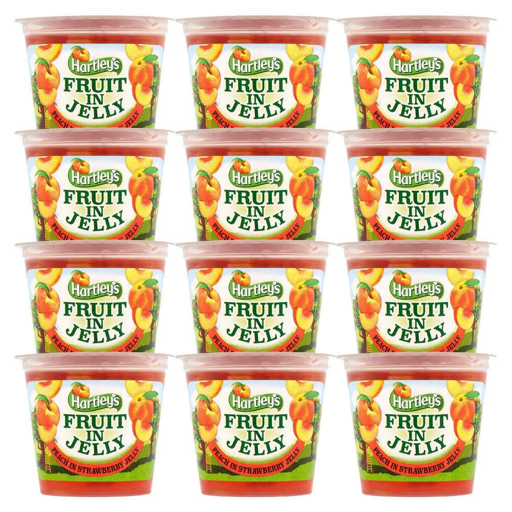 CASE PRICE  Hartleys Fruit In Jelly Peaches In Strawberry 120g x 12