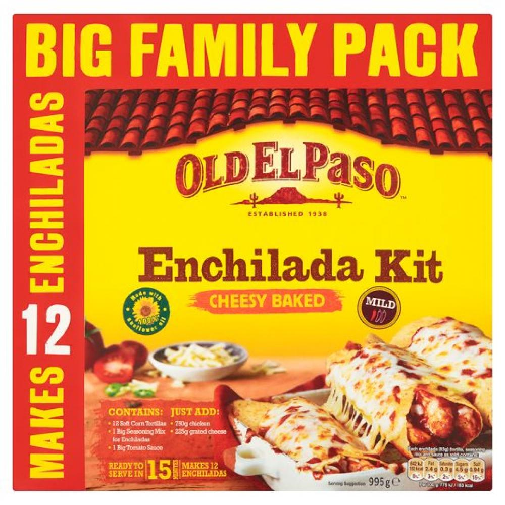 Old El Paso Cheesy Baked Enchilada Kit Family Pack 995g