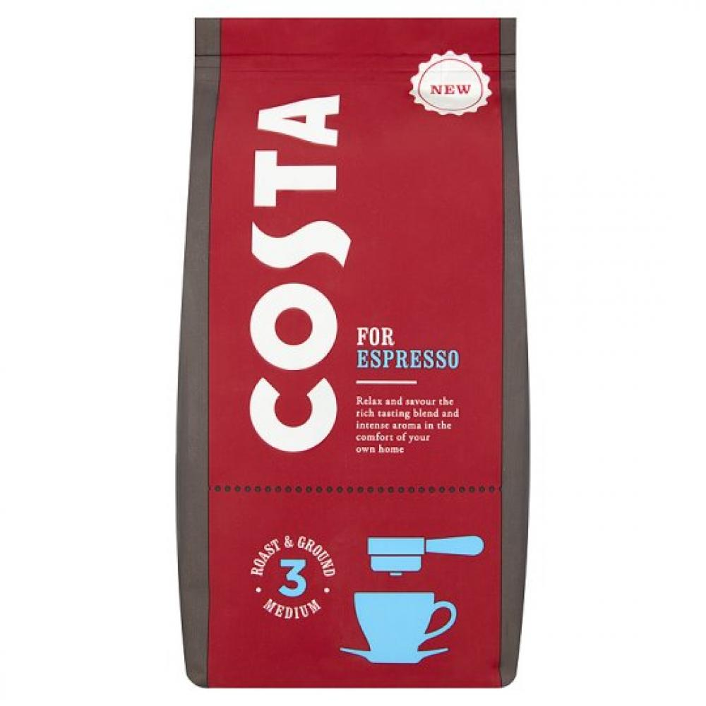 Costa for Espresso roast and ground coffee strength 3 medium 200g