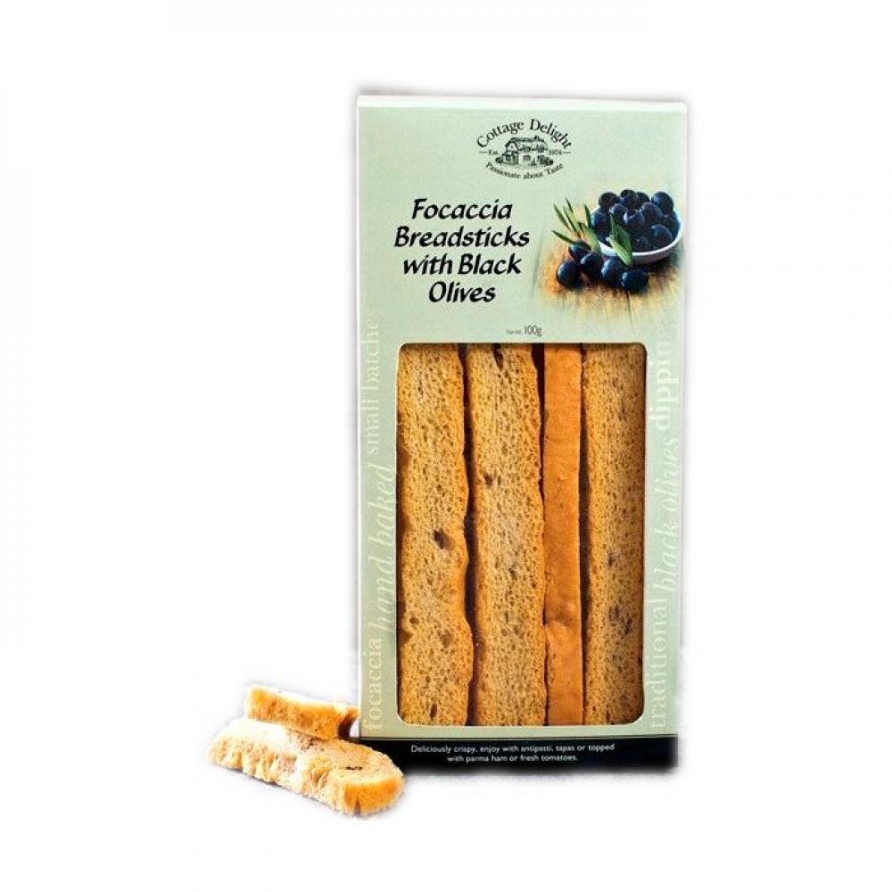Cottage Delight Focaccia Breadsticks With Black Olives 100g