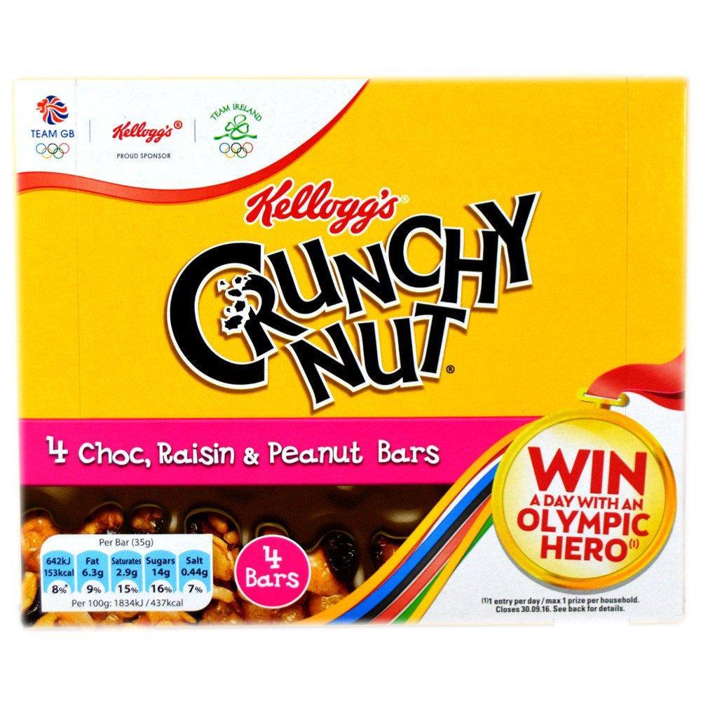 Kelloggs Crunchy Nut Chocolate, Raisin and Peanut Bars 4 x 35g