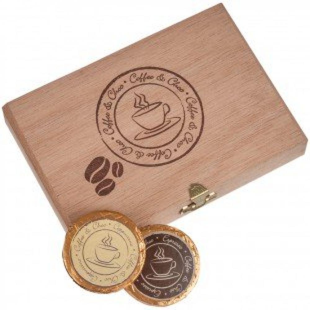 Dreimeister 12 Chocolate Gold Coins in Wooden Box 96 g