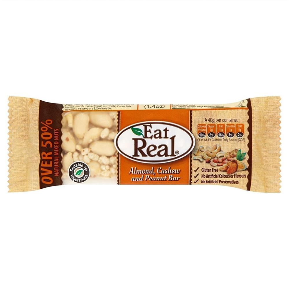 Eat Real Almond Cashew and Peanut Bar 40g