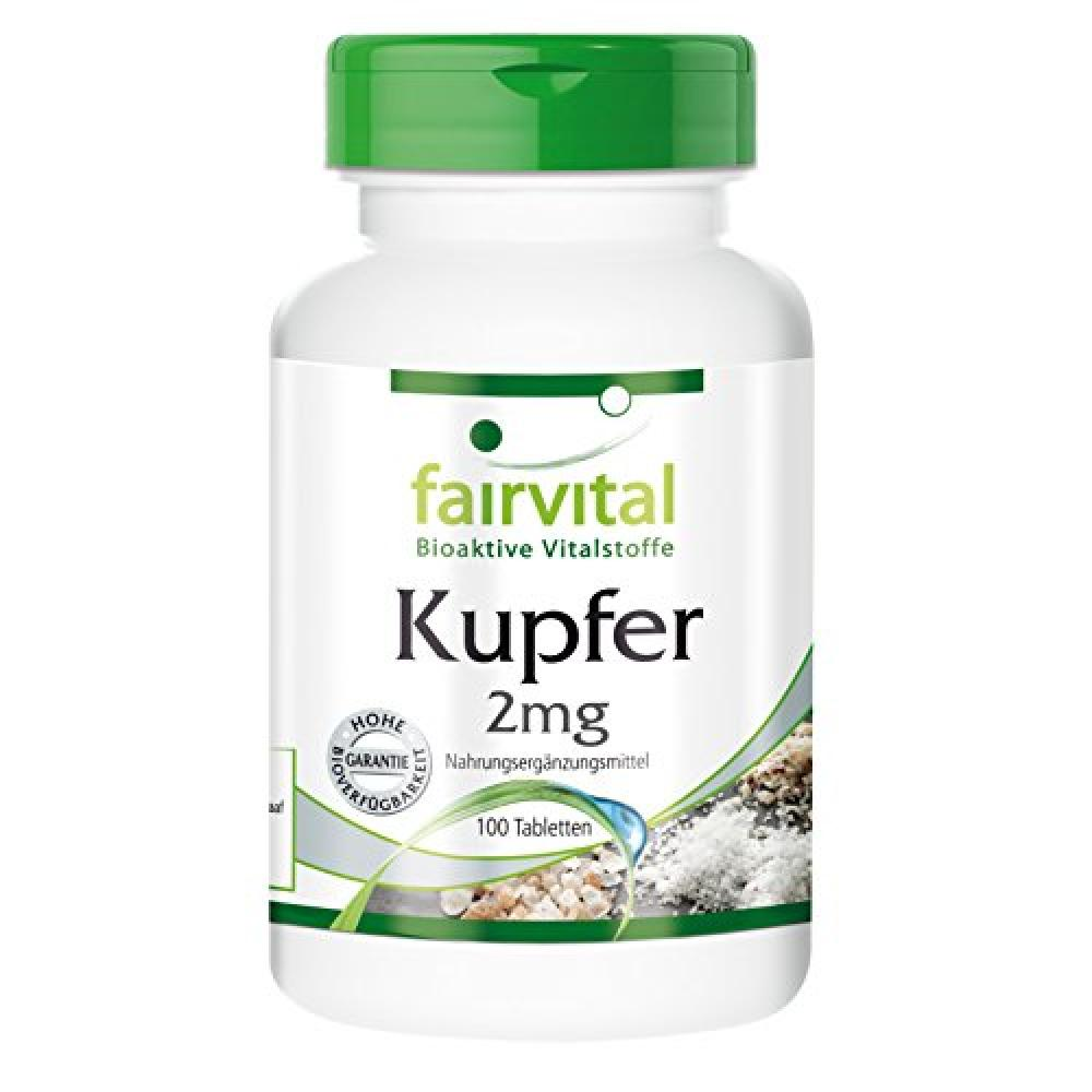 fairvital Copper 2mg - Bioavailable Amino Acid Chelate in Pure Form 100 Vegetarian Tablets