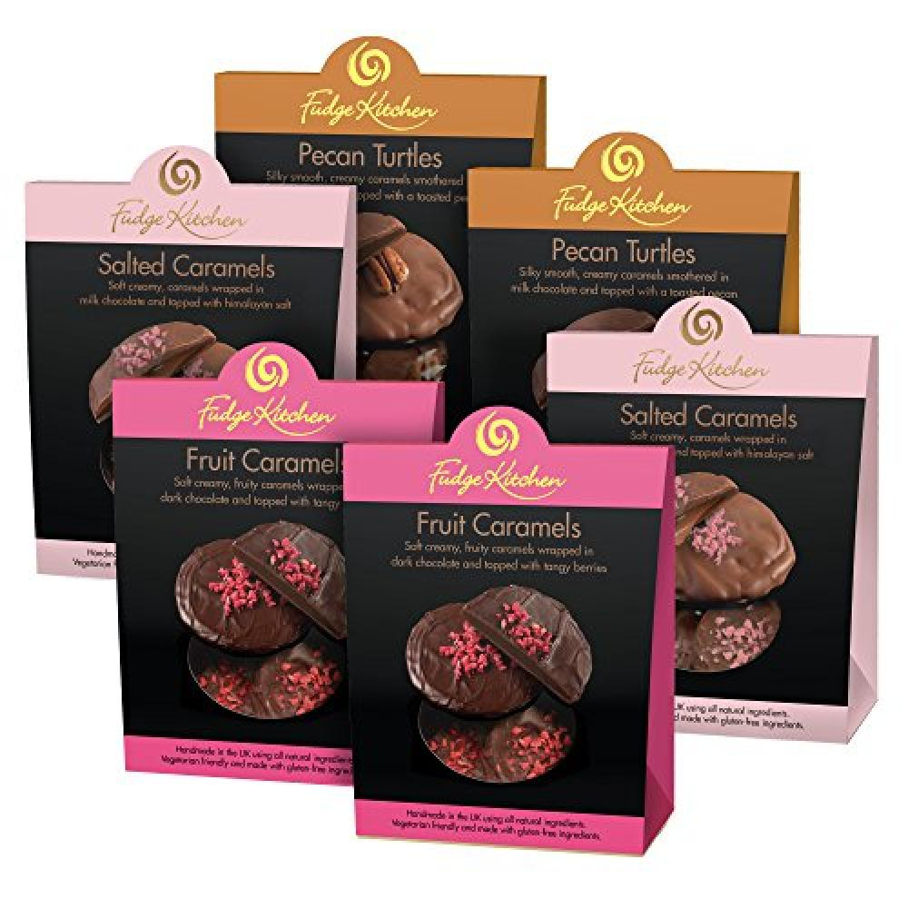 FURTHER REDUCTION  Fudge Kitchen Fruit CaramelsPecan TurtlesHimalayan Rock Salt Delectable Bundle (Pack of 6)