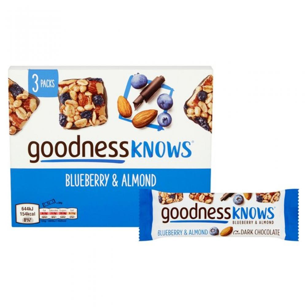 Goodness Knows Blueberry and Almond Bar 34g x 3