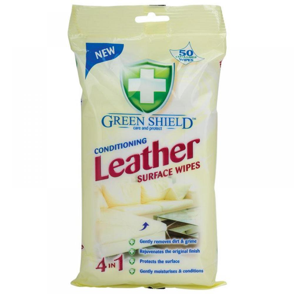 Green Shield Conditioning Leather Surface Wipes pack of 50