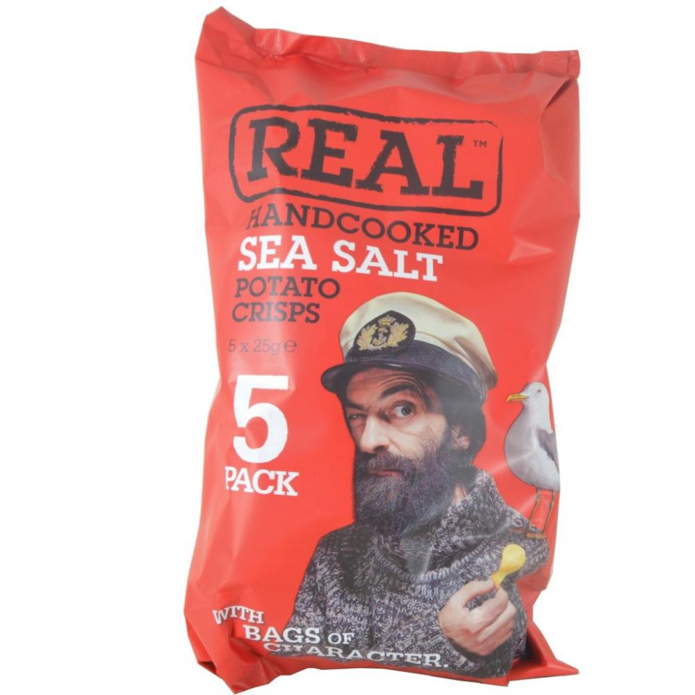 Real Handcooked Sea Salt Potato Crisps 5 x 25g