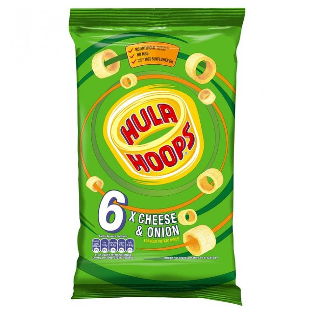 Hula Hoops Cheese and Onion Flavour 24g x 6