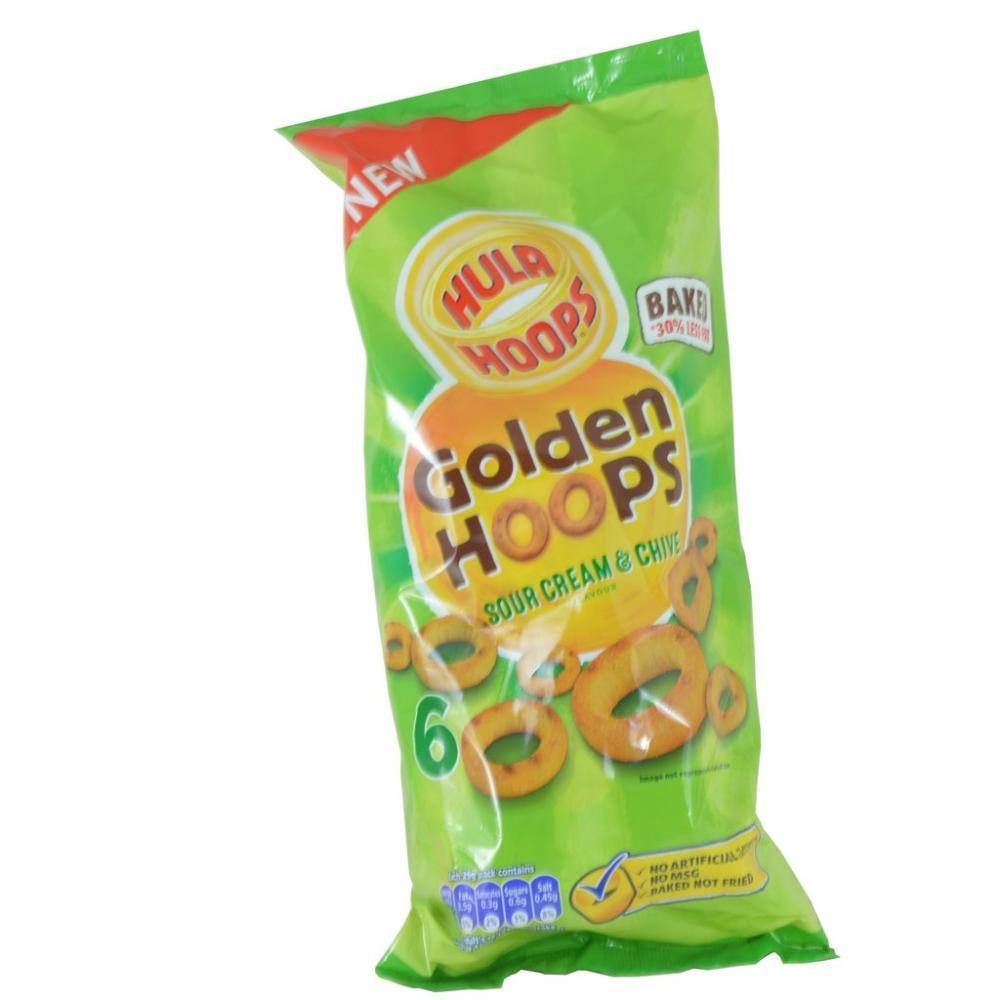 Hula Hoops Golden Hoops Sour Cream And Chive Flavour 25g x 6