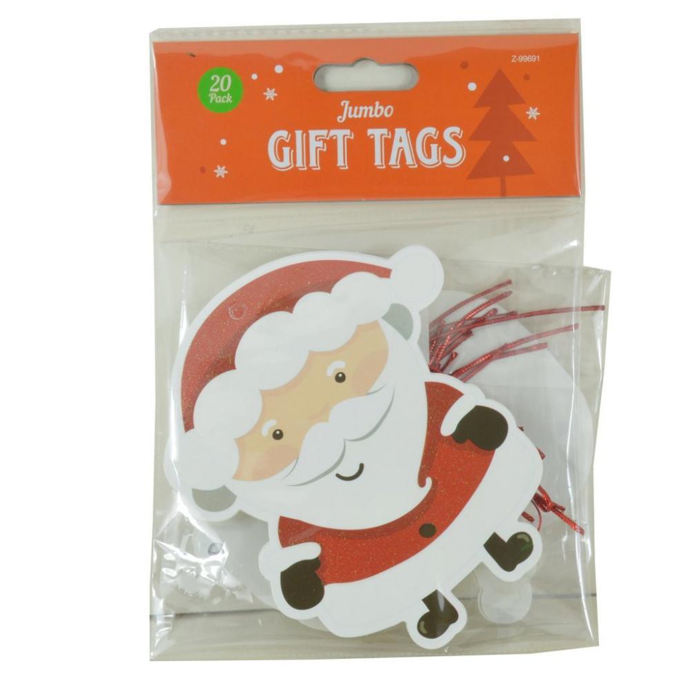 Christmas Shop Jumbo Gift Tags Various Designs 20 Pack