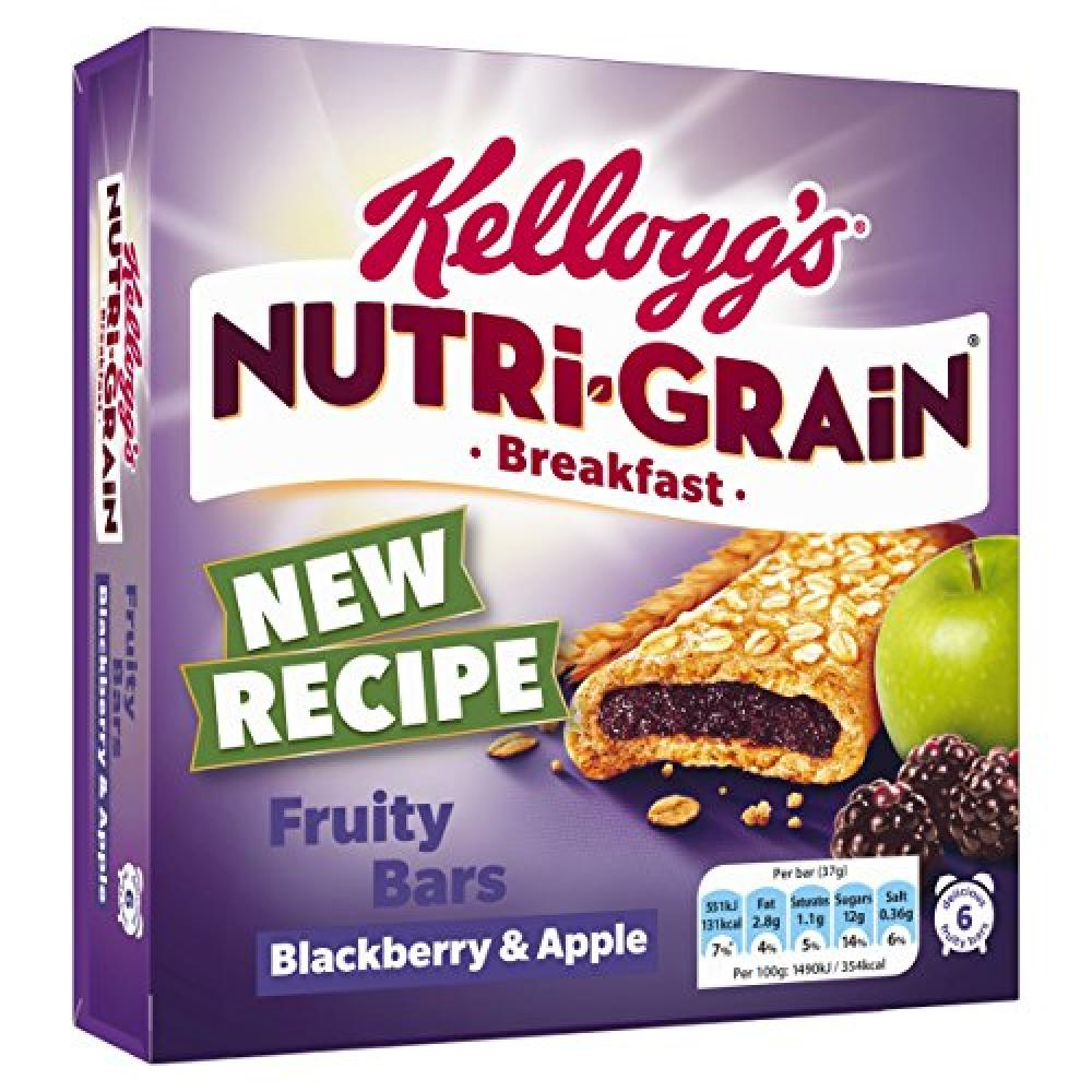 Kelloggs Nutri Grain Breakfast Fruity Bars Blackberry and Apple 6x37g