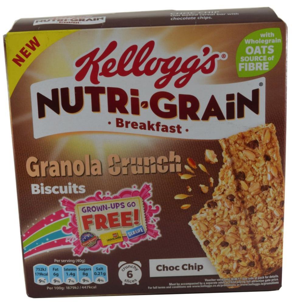 Kelloggs Nutri Grain Granola Crunch Biscuits Choc Chip 6 x 40g 40g x 6