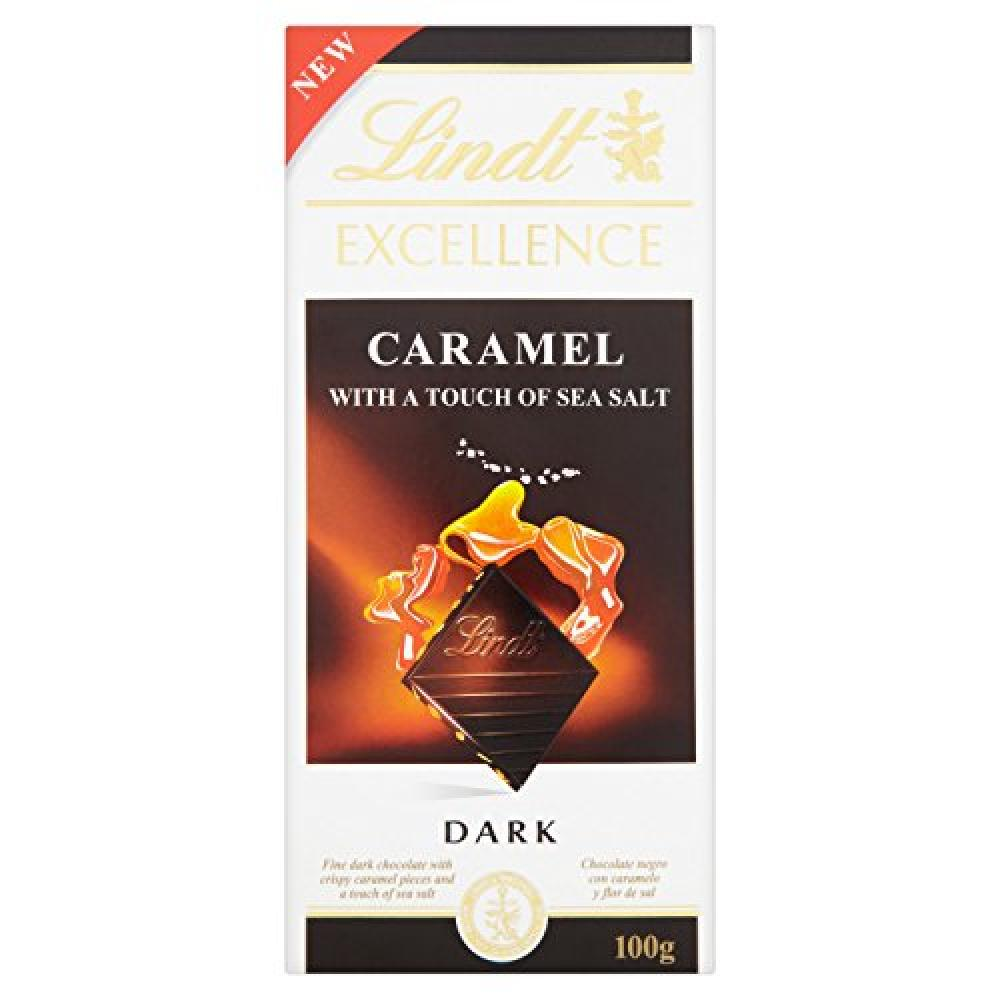 Lindt Excellence Caramel with Sea Salt Dark Chocolate Bar 100g