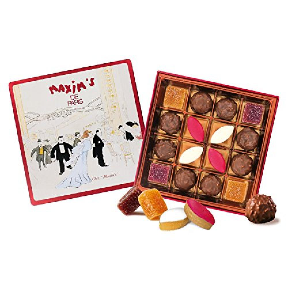FURTHER REDUCTION  Maxims de Paris Assorted Chocolate Rochers Calissons and Fruit Jellies Tin 135 g