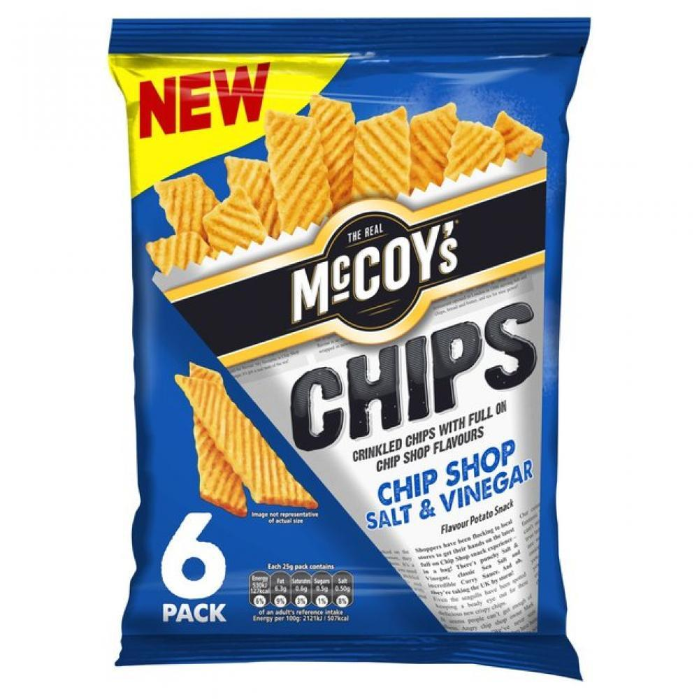 Mccoys Chips Chip Shop Salt and Vinegar Flavour 25g x 6