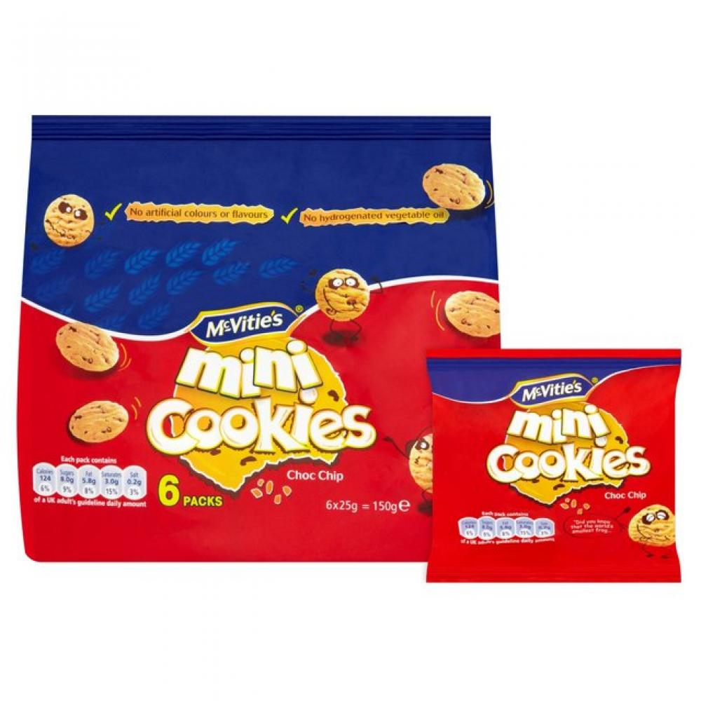 McVities Mini Cookies Choc Chip 150g pack of 6