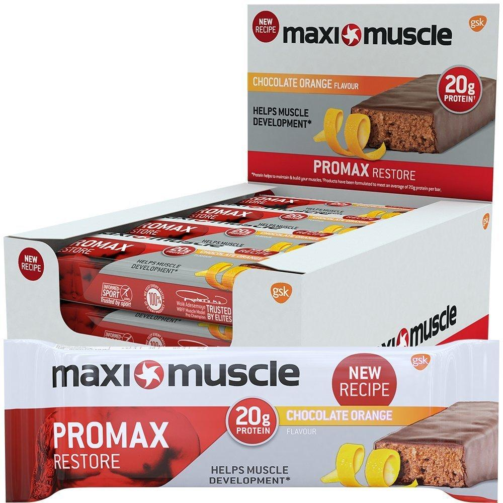 CASE PRICE  Maxi Muscle Promax Restore Bars Chocolate Orange Flavour 12 x 60g