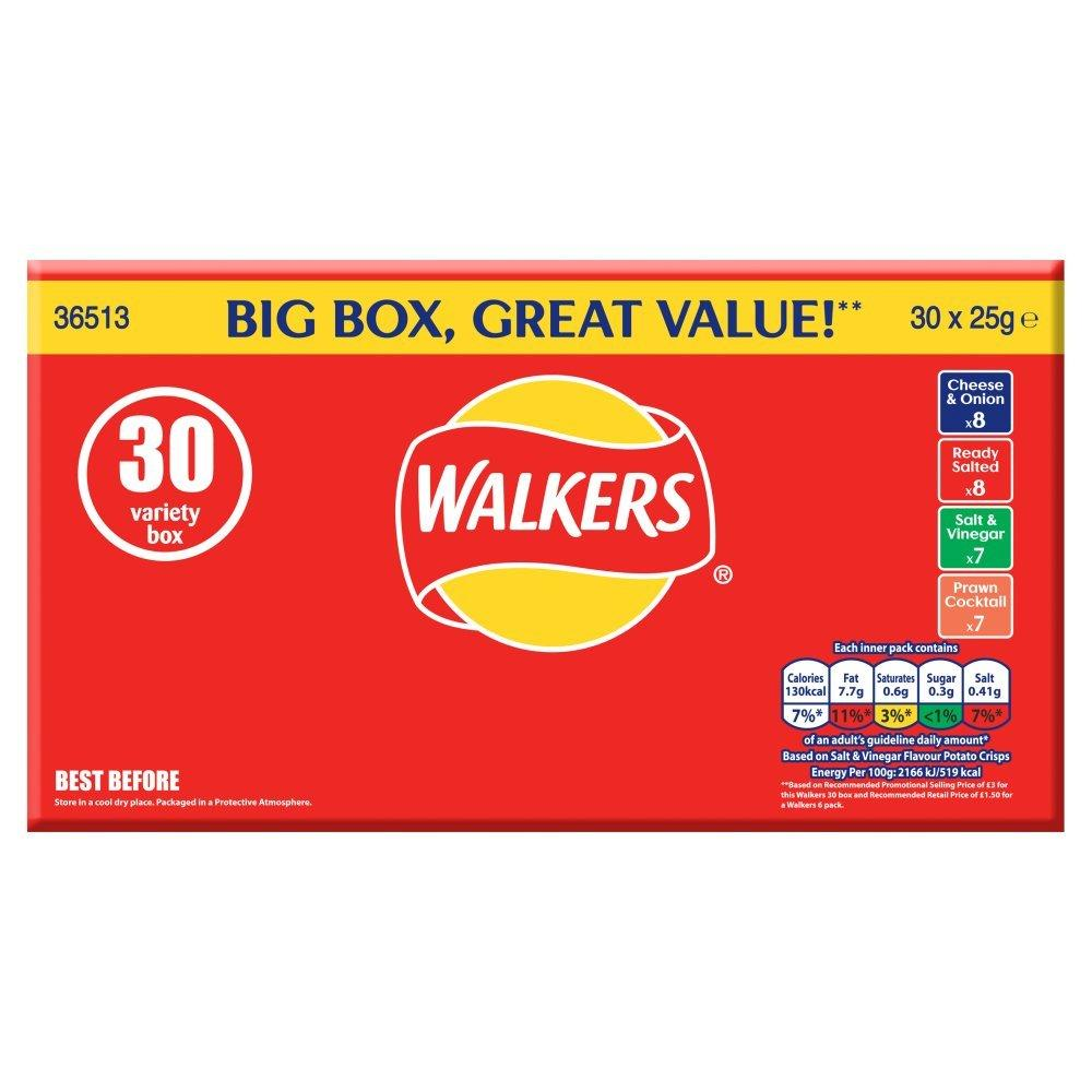 CASE PRICE  Walkers Crisps Variety 30 x 25g