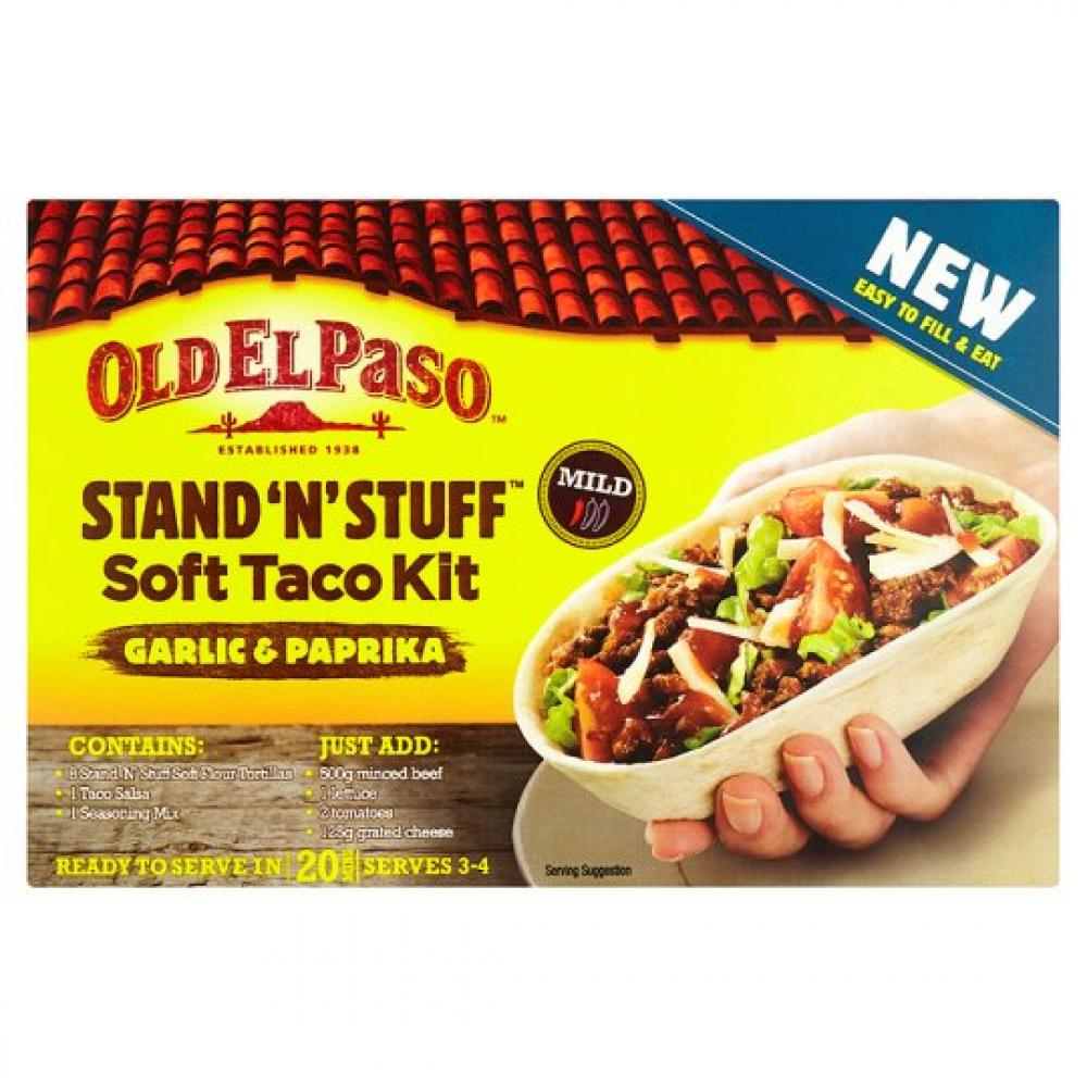 Old El Paso Stand N Stuff Garlic and Paprika Soft Taco Kit 345g
