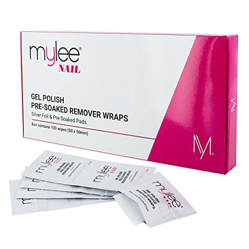 Mylee Professional Salon Gel Polish Remover Pre-Soaked Acetone Pads and Foil Wraps for Manicure and Pedicure Nail Art Cleaner - (100 wipes)