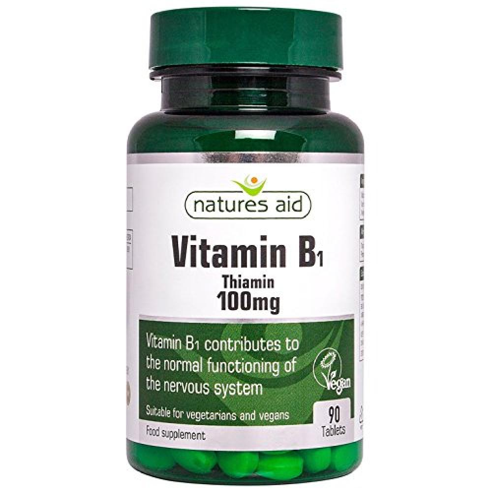 Natures Aid Vitamin B1 Thiamin Hydrochloride 100mg - Pack of 90 Tablets