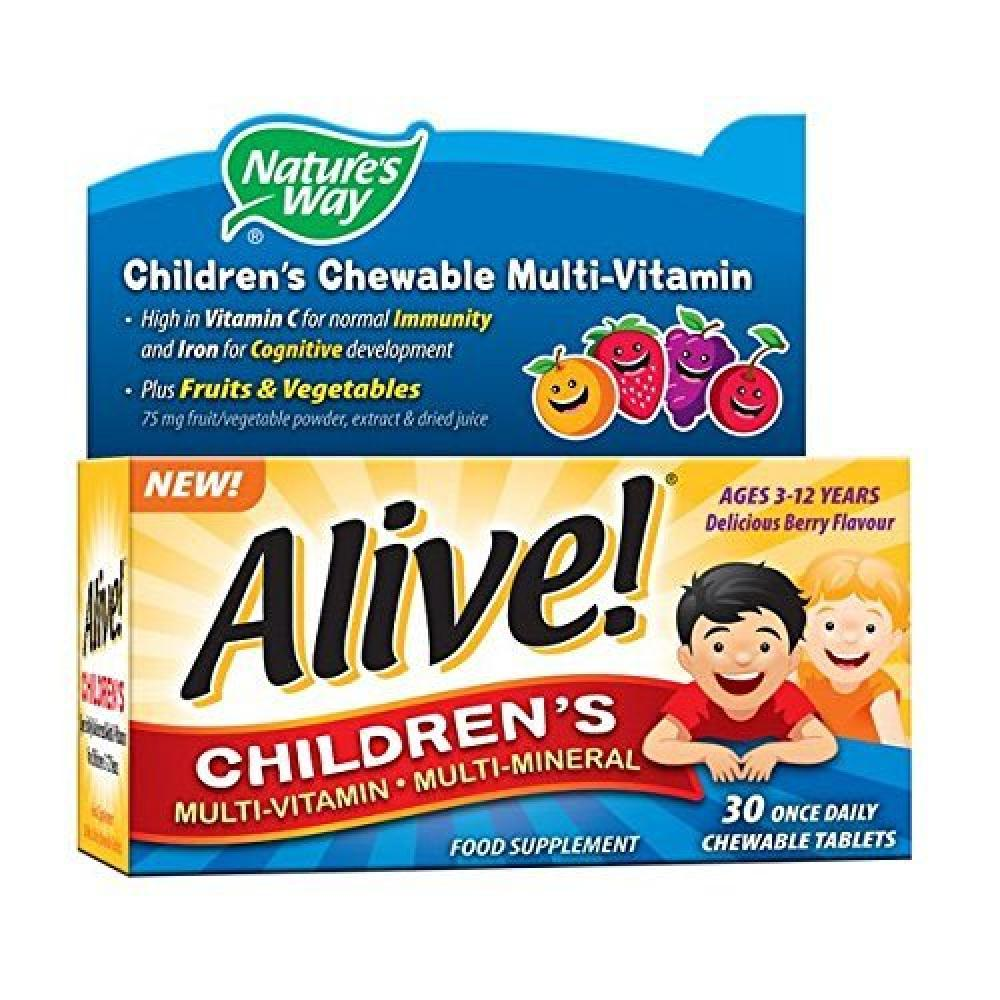 Natures way Alive Childrens Multi-Vitamin and Mineral Chewable Tablets - Pack of 30