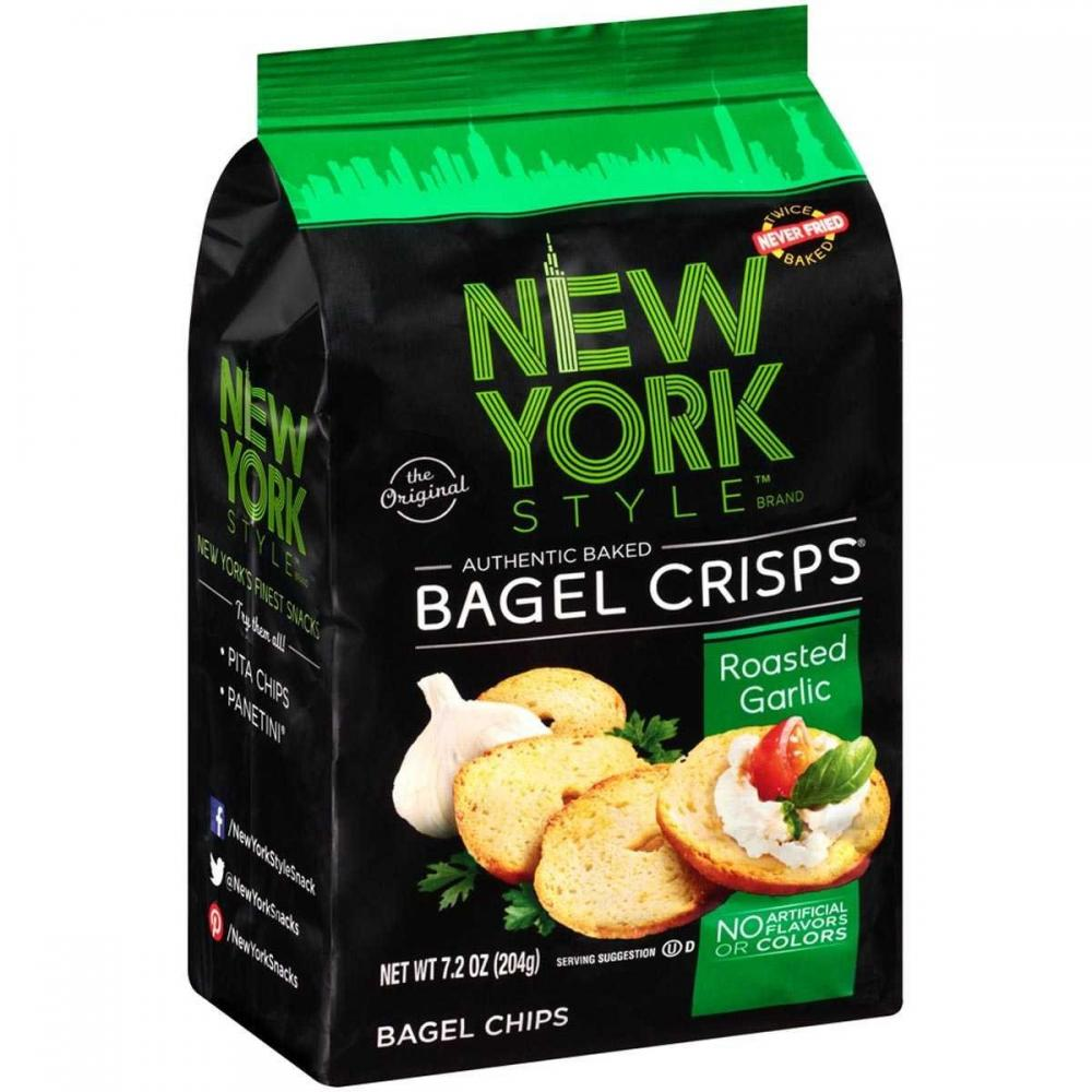 New York Style Roasted Garlic Bagel Crisps 204g