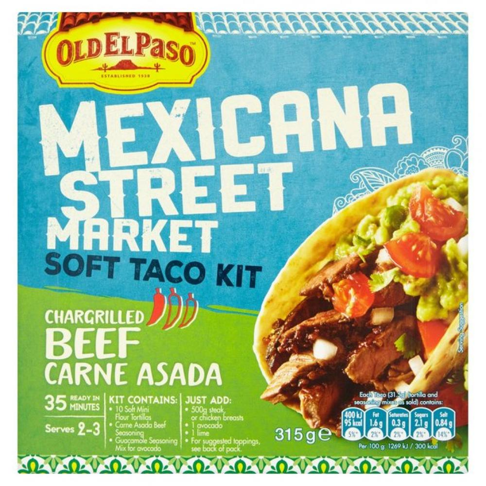 Old El Paso Old El Paso Mexicana Street Market Soft Taco Kit Chargrilled Beef Carne Asada 315g 315g